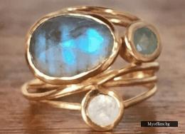 Дамски пръстен с лабрадорит и лунен камък, нов