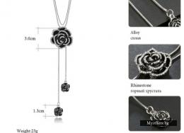 Сребърно черно цвете -медальон на сребърна верижка, ново