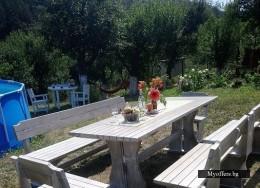 Градинско обзавеждане-маси и пейки от масивно дърво за заведения