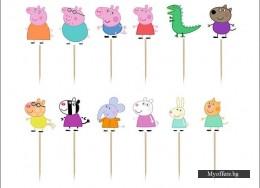 Комплект топери Peppa Pig-Пепа и приятели, 12 броя, еднолицеви