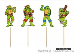 Комплект топери Turtles – Костенурките нинджа, 8 броя, еднолицеви
