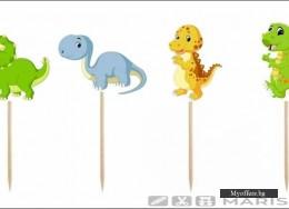 Топери за украса Динозаври – 8 броя, еднолицеви